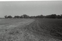 Plowed Farmland with Hay Bales in Back