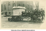 Boys on Mecca Day parade float mocking law students and their Law Jubilee, The University of Iowa 1922