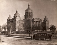 State Capitol of Iowa with Trolley