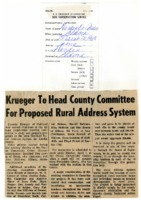 Krueger to head county committee for proposed rural address system.