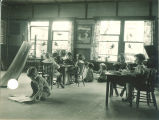 Children participating in playroom activities, The University of Iowa, 1920s