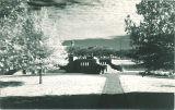 Western end of pedestrian bridge by Iowa Memorial Union, the University of Iowa, 1930s?