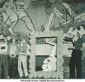 Students portraying a Picassoesque painting at costume dance, The University of Iowa, March 1940