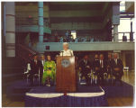 Mary Louise Smith speaking at award presentation for Meredith Willson, Des Moines, Iowa, June 1988