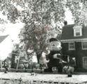 Elmer Fudd shoots Bugs Bunny, Delta Sigma Phi lawn display, Homecoming, 1958