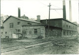 Engineering shops by railroad track, the University of Iowa, 1910s?