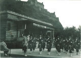 Scottish Highlanders performing in Princess Street Gardens, Edinburgh, Scotland, 1960