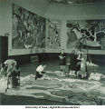 Students painting Picassoesque wall hangings, The University of Iowa, March 4, 1940