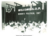 Mary Louise Smith speaking at podium at G.O.P. Women's Political Day, 1976