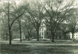 Schaeffer Hall partially obscured by trees, the University of Iowa, 1920