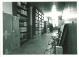 Tapes and films in a storage area in MacLean Hall, the University of Iowa, May 1962