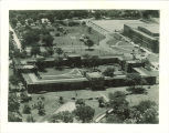 Aerial view of Quadrangle Hall and Field House, the University of Iowa, 1930