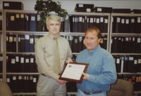 Ken Klein receives employee of the month for the Delaware County Soil and Water Conservation District office.