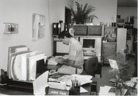 1995 -Mike Lewitke, District Conservationist, is typing at a desk.