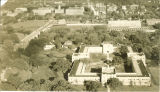 Aerial view of Quadrangle Hall and east campus, the University of Iowa, 1920