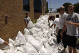 Volunteers sandbagging outside Lindquist Center, The University of Iowa, June 14, 2008