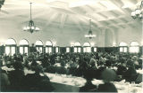 Dinner with guest speaker in Main Lounge of Iowa Memorial Union, the University of Iowa, 1950s