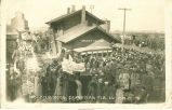 Soldiers departing at train station, Grundy Center, Iowa, February 26, 1918