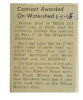1965 - Contract Awarded On Wyacondah Watershed