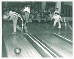 Men bowling in the Iowa Memorial Union, the University of Iowa, 1950s?