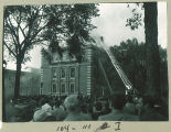 Watching fire fighters at the Chemistry Building, the University of Iowa, October 23, 1953
