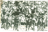 Scottish Highlanders dancing at football game, The University of Iowa, 1972 or 1973