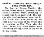 Ernest Tomlin's body recovered from sea
