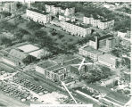 Aerial perspective of proposed Main Library additions, the University of Iowa, circa 1960