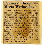 Farmers' union meets Wednesday.