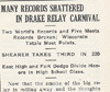 Drake Delphic, 1916, Many Records Shattered in Drake Relay Carnival