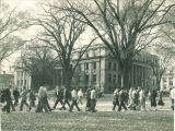 Students on the Pentacrest near Schaeffer Hall, the University of Iowa, 1940
