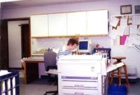 Barbara Shelman at desk, 1998