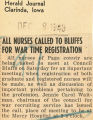 All Nurses called to bluffs for war time registration