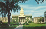 Old Capitol flanked by MacLean and Jessup Halls, the University of Iowa, 1950s?