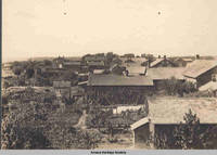 Backyards, picture taken from windmill behind Homestead pharmacy, Homestead, Iowa, 1900s