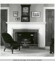 Sitting room fireplace and chairs