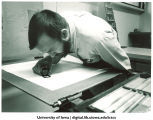 Kim Merker, editor and printer at Windhover Press, The University of Iowa, 1970s