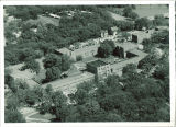 Aerial view of Quadrangle Hall, The University of Iowa, 1950