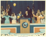 President Ford and Bob Dole and families uniting on the main stage at the  Republican National Convention, Kansas City, Mo., August 1976