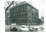 Old Dental Building view from the street with cars, The University of Iowa, 1950s