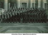 Cadets of Company G on steps of the Old Capitol, The University of Iowa, ca. 1943