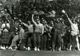Kappa Kappa Gamma and Delta Upsilon winning Yell-Like-Hell performance at Homecoming, 1980