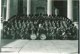 Scottish Highlanders on steps of Old Capitol, The University of Iowa, November 25, 1952