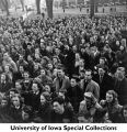 Crowd of students gathered on Pentacrest, Iowa City, Iowa, 1941