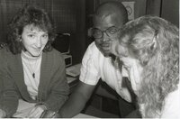 1988 - Kathy Baughman, Terry Cosby, and Lisa Neidermayer work on a project for the Des Moines County Soil and Water Conservation District