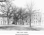 North Hall, Dental Building, and Science Hall behind old oaks, The University of Iowa, 1900s