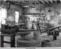 Interior of cooper shop, Amana, Iowa, 1960s