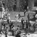 Many students walking down the steps of Curtiss Hall, 1971