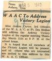 WAAC to address victory legion