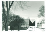 Entrance to the Hardin Library for the Health Sciences in winter, the University of Iowa, March 1975